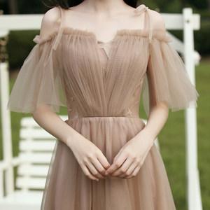 伴娘服2020新款简约大气香槟色森系婚礼姐妹团平时可穿轻晚礼服女