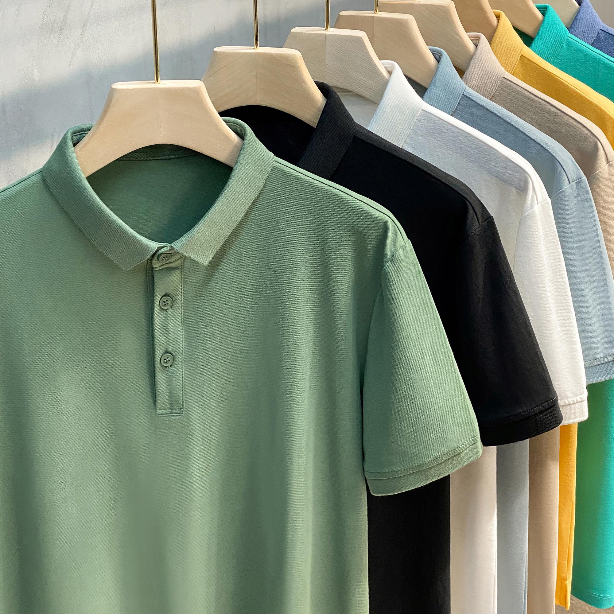 2021新款男士高端纯色Polo衫短袖t恤男装夏季上衣服翻领潮流