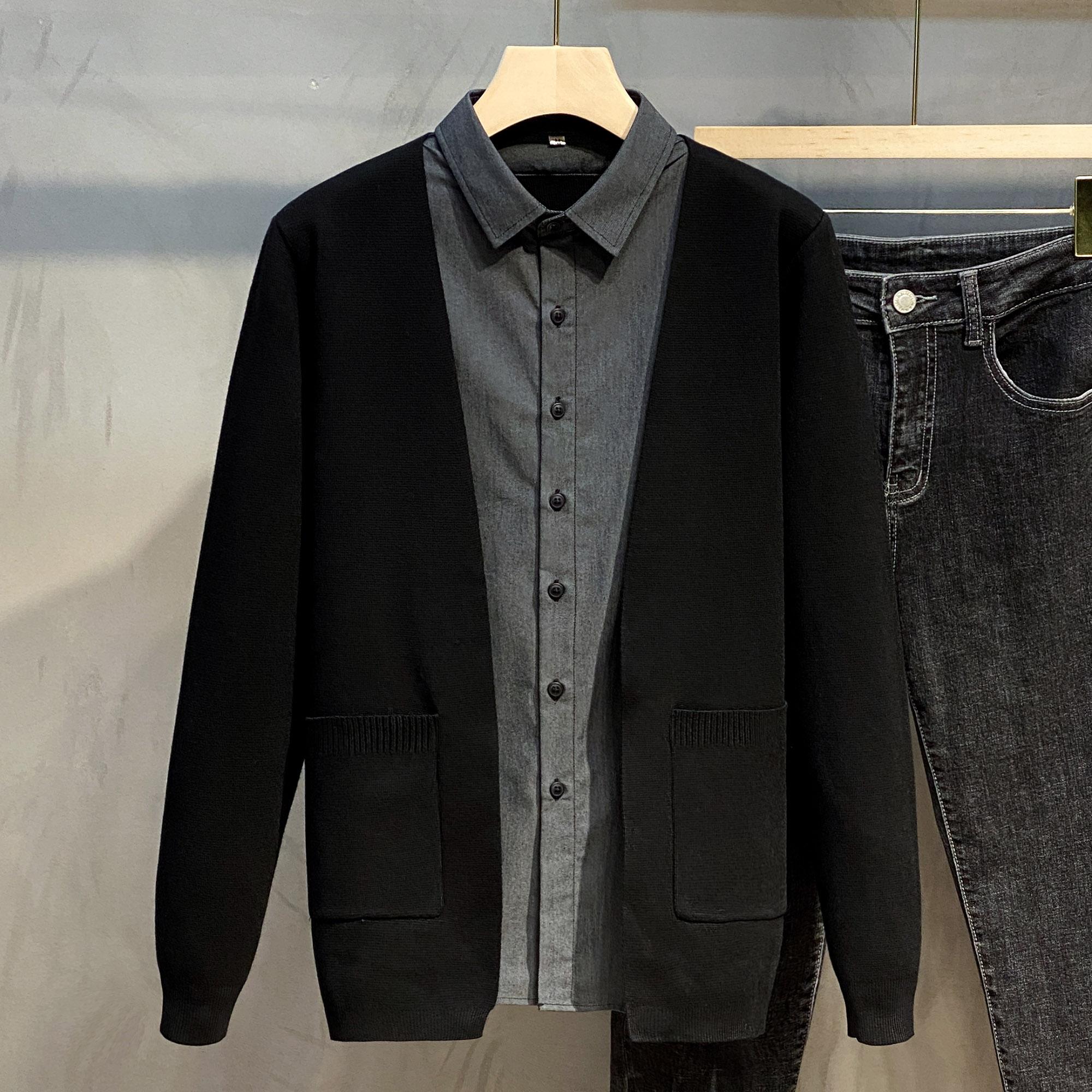 2021年春装男士假两件 针织开衫时尚百搭衬衫领外套男黑色毛衣潮