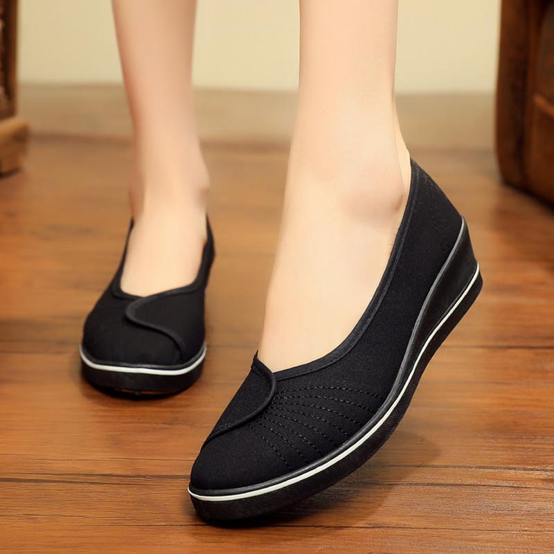 正品老北京布鞋女鞋一字护士鞋白色坡跟厚底上班工作鞋黑色美容鞋