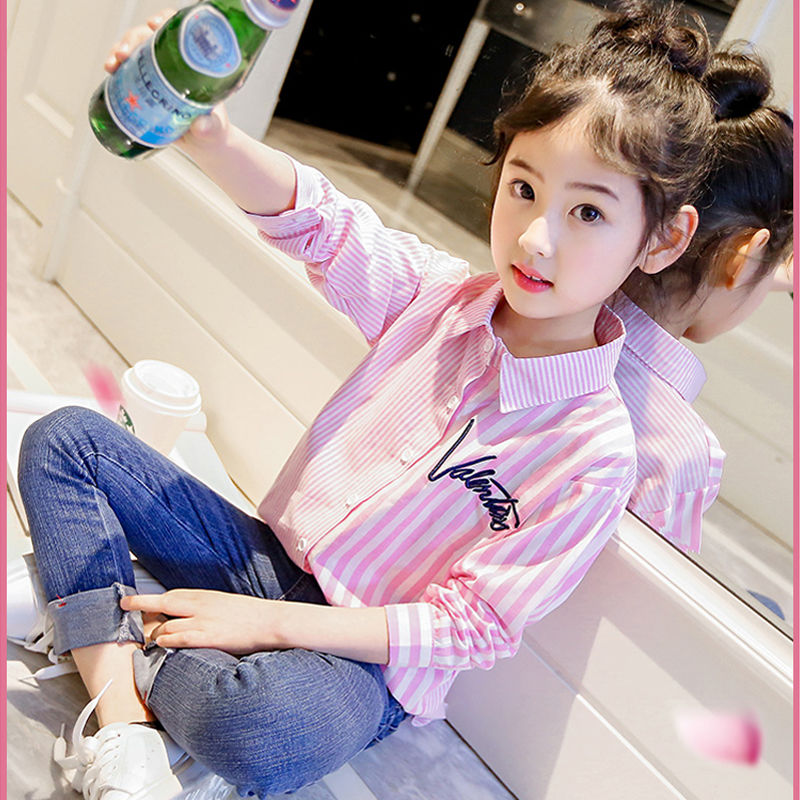 Girls foreign style long sleeve shirt spring and autumn style 4-13-year-old Korean girls shirt middle school childrens stripe shirt fashion
