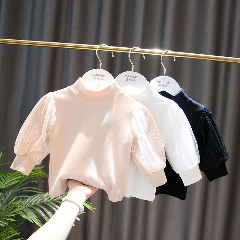 2021 autumn new girls and childrens clothes baby retro bubble sleeve medium high collar bottomed shirt long sleeve T-shirt fashion