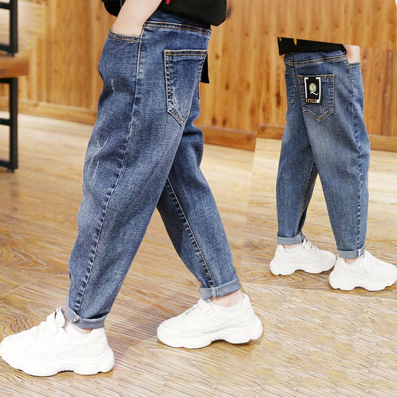 好质量男童牛仔裤秋款童装儿童裤子潮中大童韩版长裤宽松小脚裤