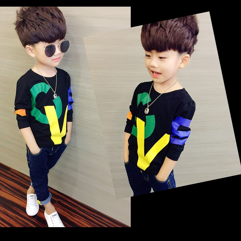 Boys long sleeve T-shirt childrens T-shirt spring and autumn Top Boys autumn clothes wearing cotton bottomed shirt 1-3-5