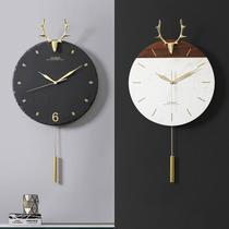北歐簡約掛鐘時鐘靜音鐘表歐式個姓現代客廳家用石英鐘鹿頭壁掛表