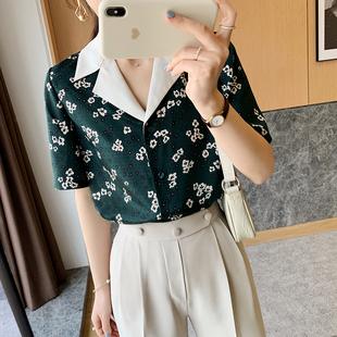 未央精品 复古港风 衬衫女2020夏新款森林绿洋气印花短袖薄款衬衣