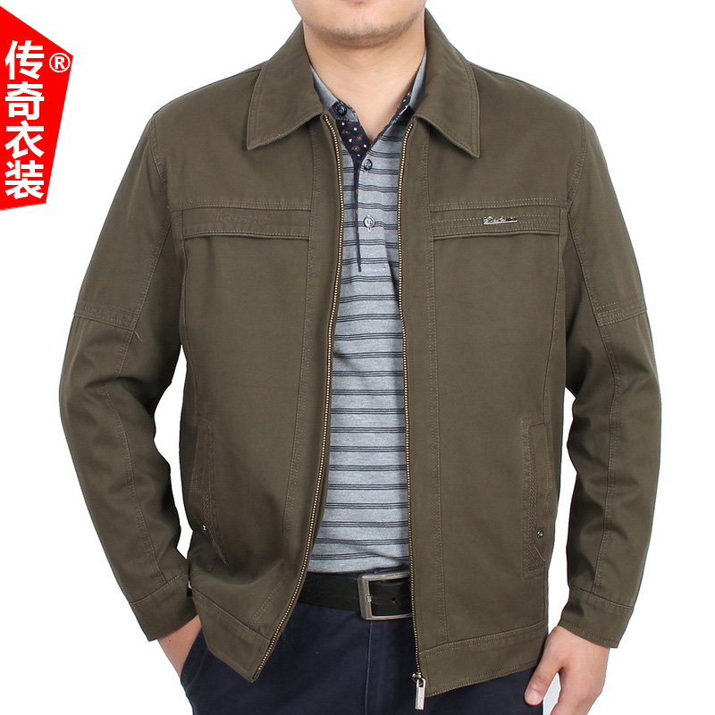 New spring and autumn middle-aged mens jacket 40-50 middle-aged and elderly dads cotton lapel jacket