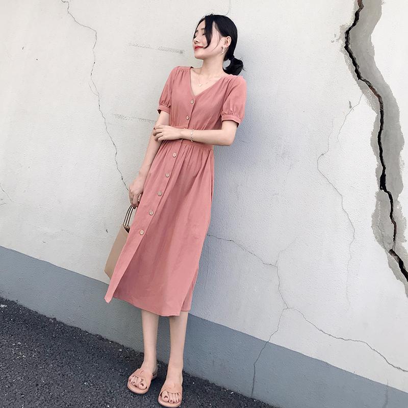 2018新款女装夏装修身高腰中长款连衣裙女收腰粉色短袖v领裙大码