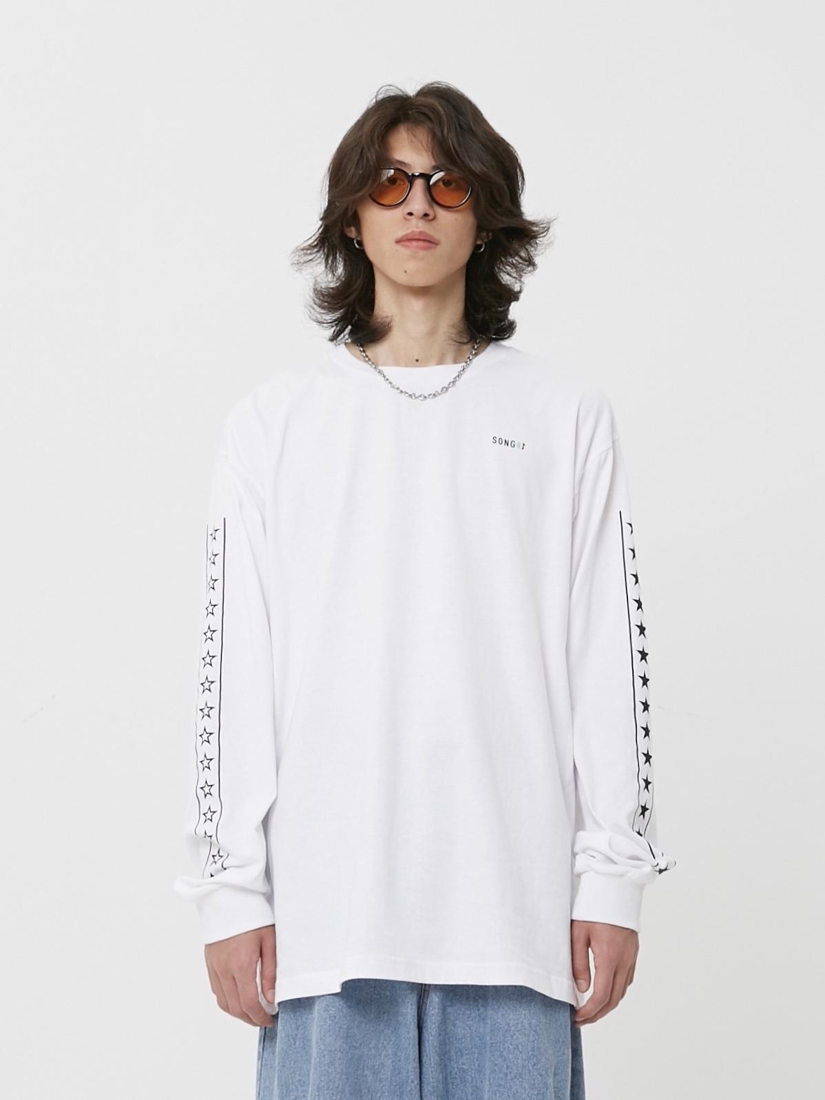 SONG41原创设计日系街头潮流宽松薄款情侣五角星串标长袖T恤