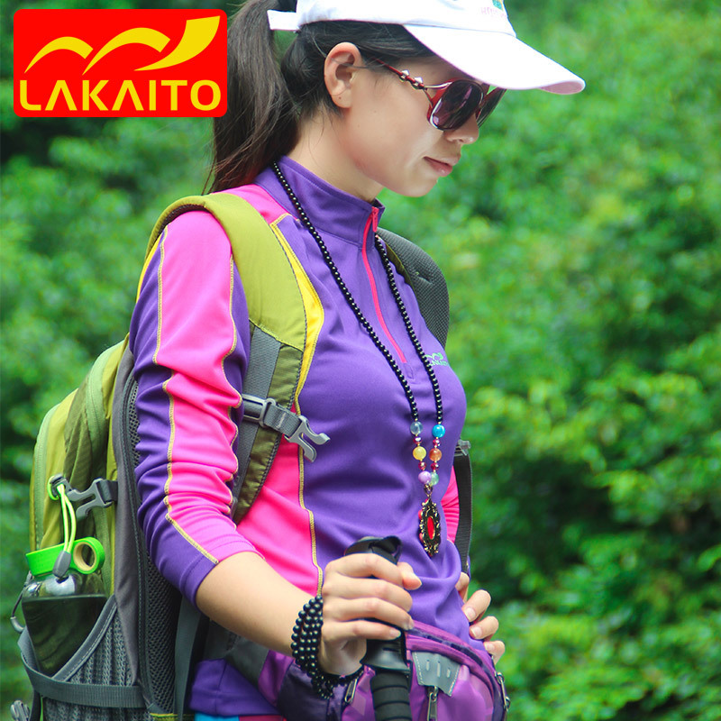 Quick drying T-shirt womens long sleeve quick drying clothes stand collar hiking slim sports mountaineering breathable shirt lakaito outdoor clothing