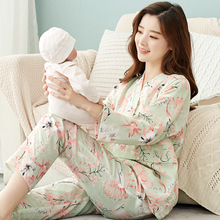 Moon clothes thin pure cotton gauze for pregnant women's home clothes and nursing pajamas suits for postpartum breast-feeding in spring and summer