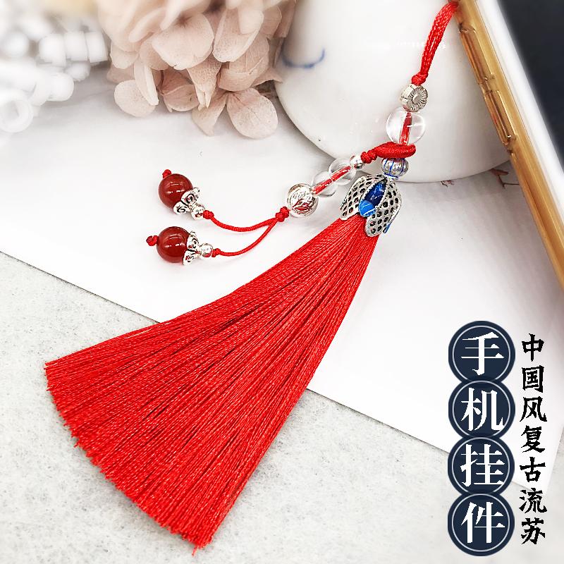手机短绳流苏挂件饰品配件手机链个性包包小吊坠中国古风女款短绳