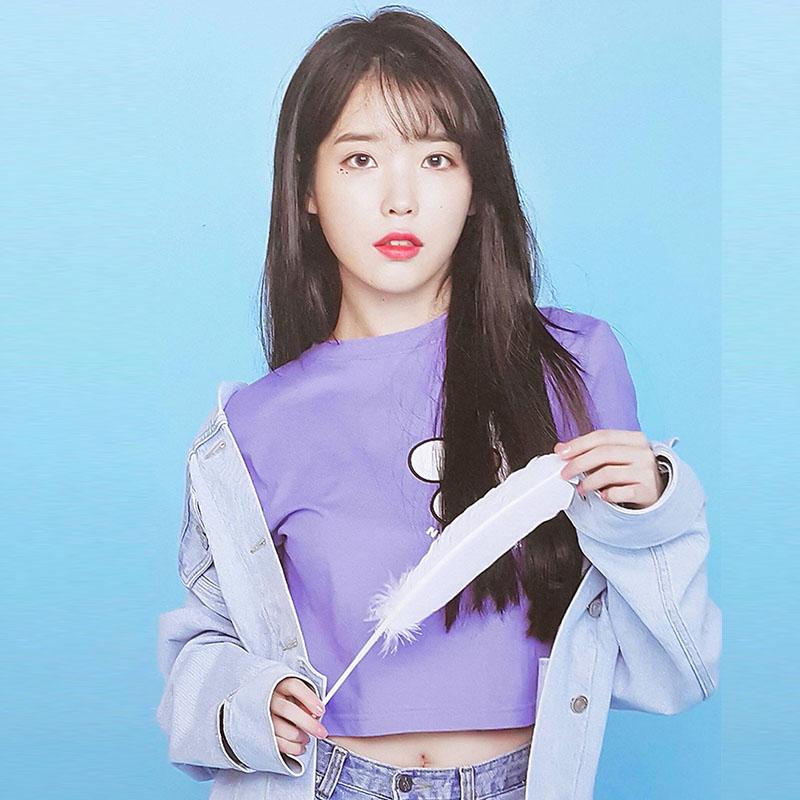 IU李知恩明星同款2018台历紫色短袖圆领印花纯棉打底衫T恤上衣女