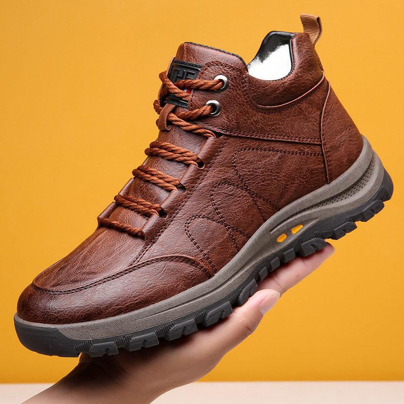 冬季新款真皮牛皮中高帮系带登山鞋加绒加厚棉鞋皮鞋男保暖雪地靴