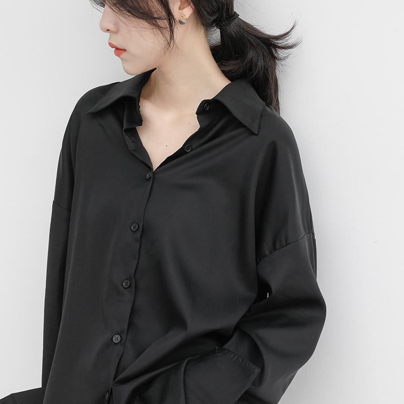黑色冷淡风秋装衬衫女长袖宽松百搭设计小众复古港味垂感衬衣外套