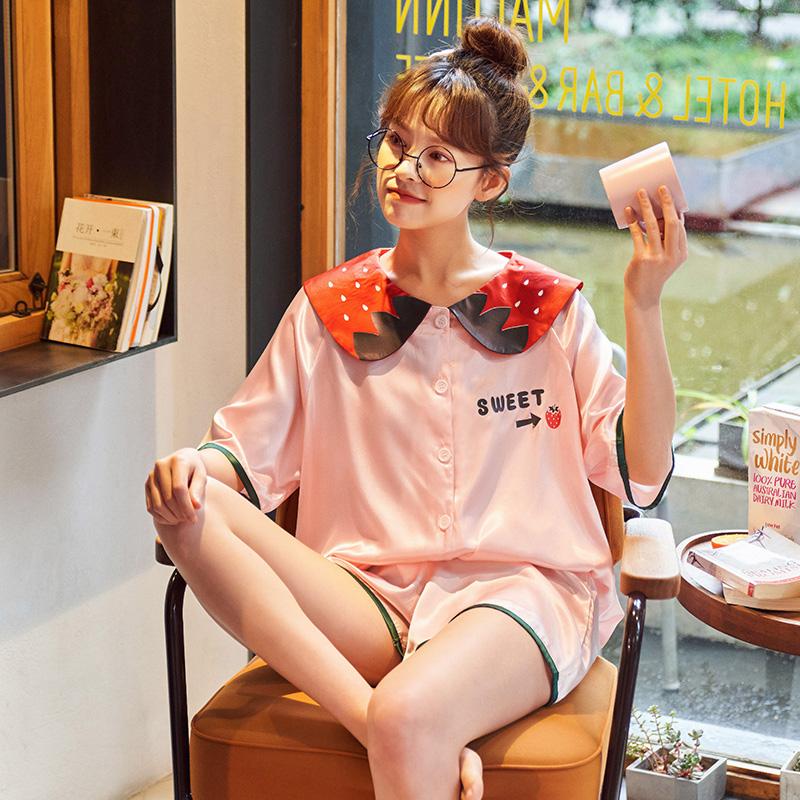 韩版睡衣女夏两件套分体短袖套装冰丝仿真丝绸开衫睡衣春夏款