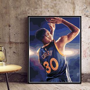 diy数字油彩画詹姆斯科比库里哈登填充涂色手绘油画NBA篮球全明星