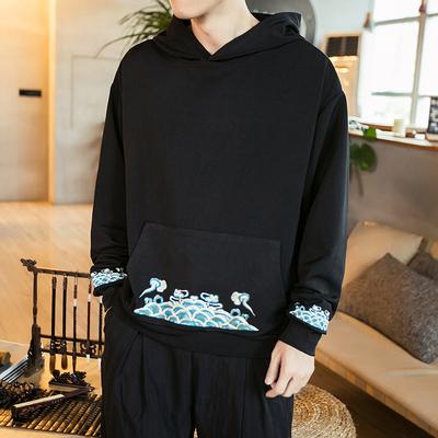 中国风连帽套头卫衣男士上衣印花复古长袖外套秋季男装 WY02-P55