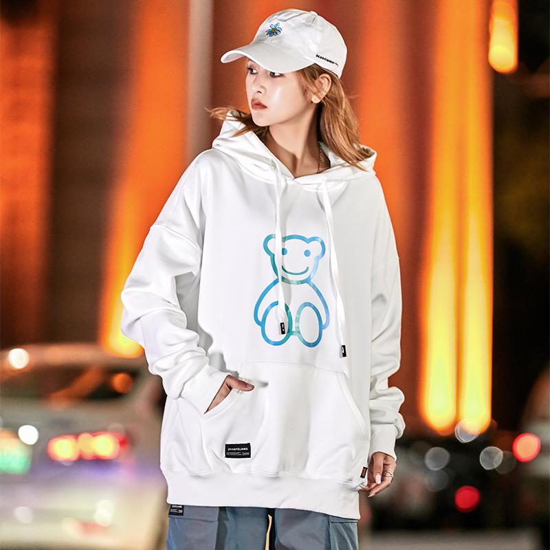 白色印花卫衣女2021百搭韩版宽松连帽薄款ins潮嘻哈外套 WY09-P35