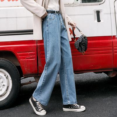 牛仔褲女2020秋季新款高腰復古藍直筒褲寬松韓版垂感泫雅闊腿褲