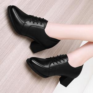女士2021年新款真皮百搭深口皮鞋