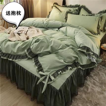 网红款ins四件套全棉纯棉少女心公主风加厚床上用品床裙床单被套