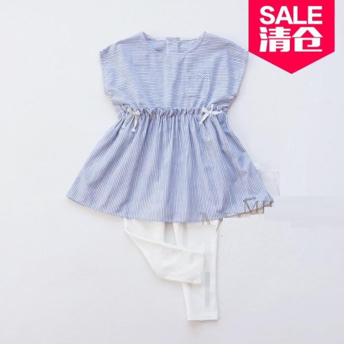 Summer childrens export order cotton girls short sleeve dress baby girls all cotton striped skirt one-piece skirt
