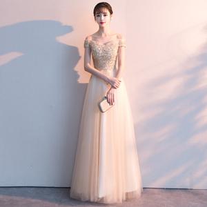 金色2021新款夏季宴会气质晚礼服