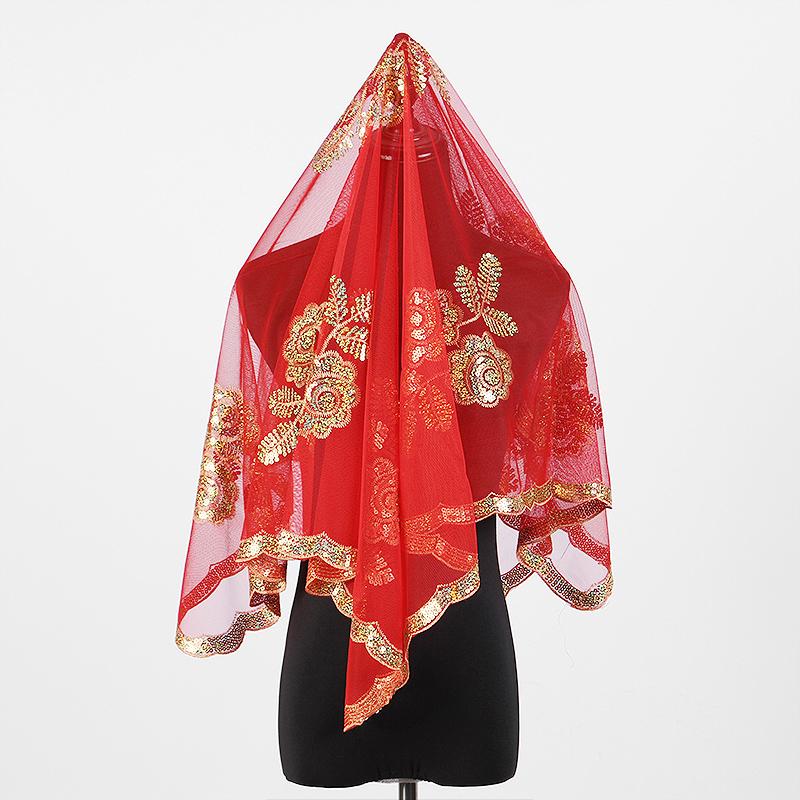 蔓琪丝新娘结婚红盖头喜盖头纱喜帕蒙头巾婚庆中式喜字流苏盖头布