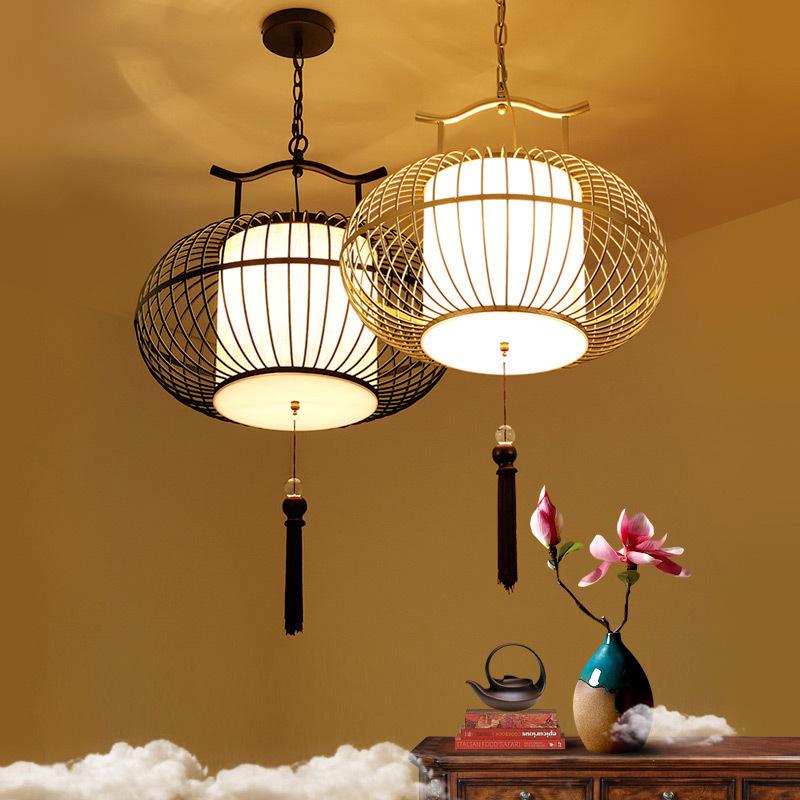 餐厅吊灯创意个性新中式吊灯 铁艺个性鸟笼灯吧台复古鸟笼小吊灯