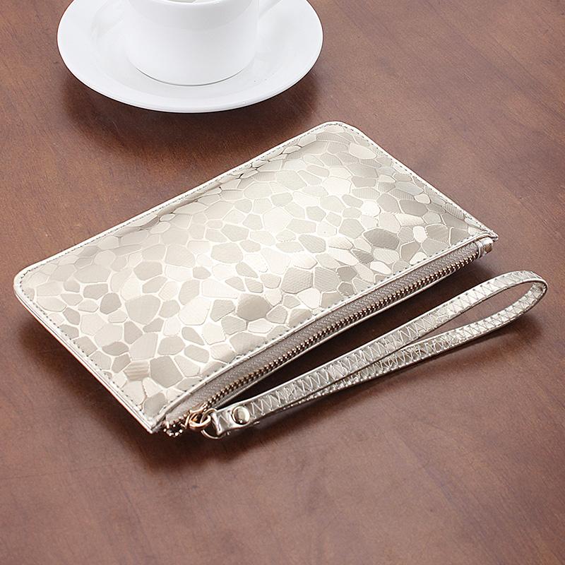 歐美錢包女超薄長款亮片百搭拉鏈手機包零錢包袋手包手拿包小方包