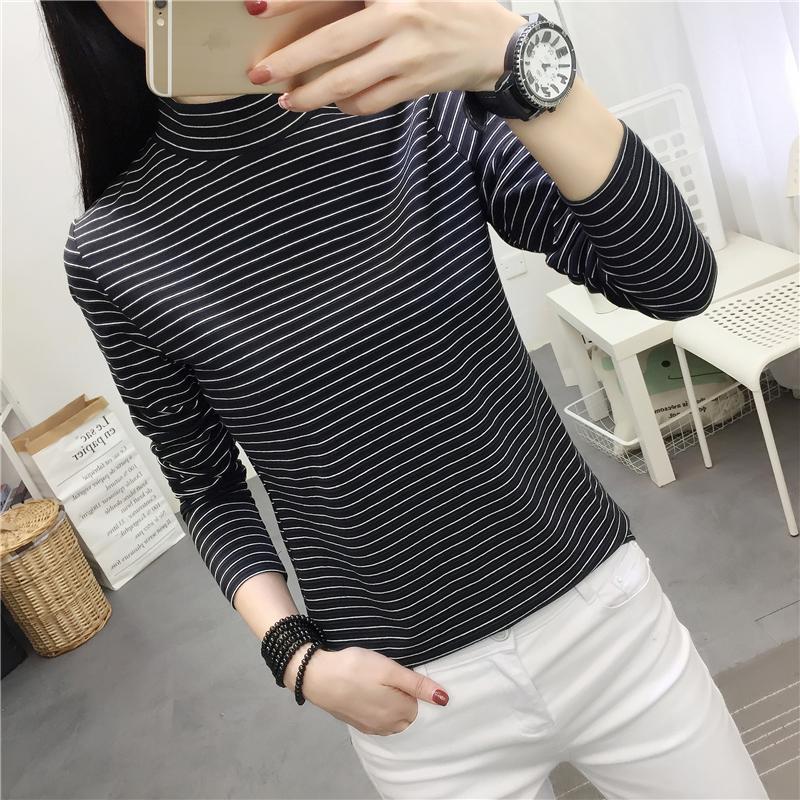 8062#实拍 2019春装新款韩版半高领条纹T恤女长袖6打底衫