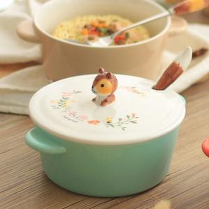 日式大号陶瓷泡面碗带盖可爱双耳饭碗汤碗个性创意学生家用餐具碗
