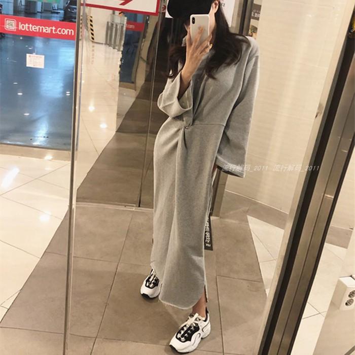 (用3元券)韩国2019秋装新款宽松纯色女卫衣裙