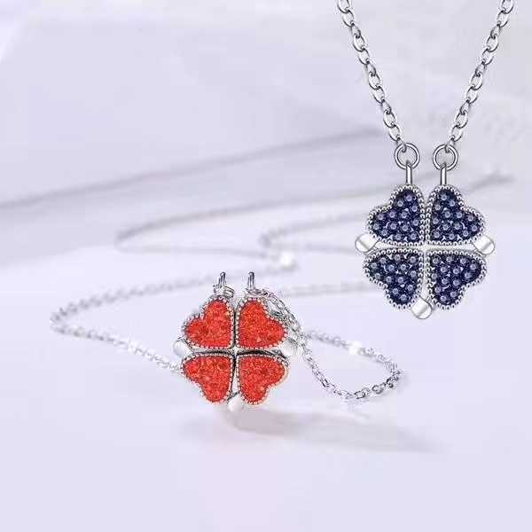 S925 Sterling Silver Four Leaf Clover Sterling Silver womens necklace heart shaped clavicular chain net red