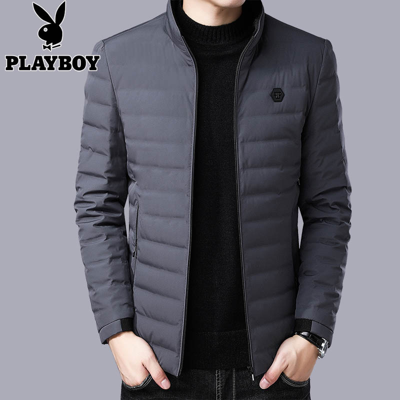 Playboy down jacket mens clearance winter high grade casual jacket fashionable light and thin coat for men