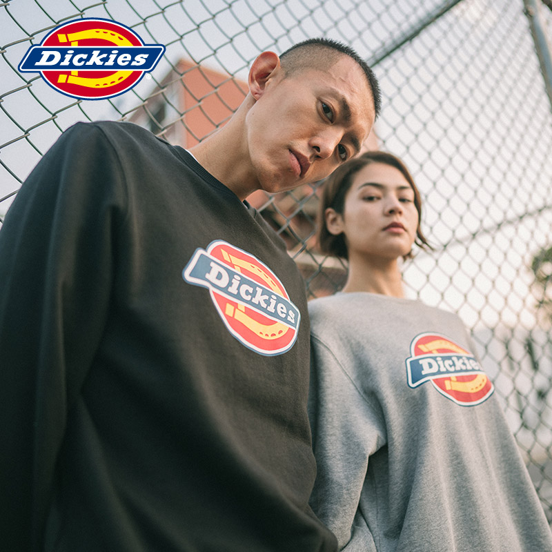 Dickies couple logo printed round neck sweater men's and women's loose fitting sweater dk007059