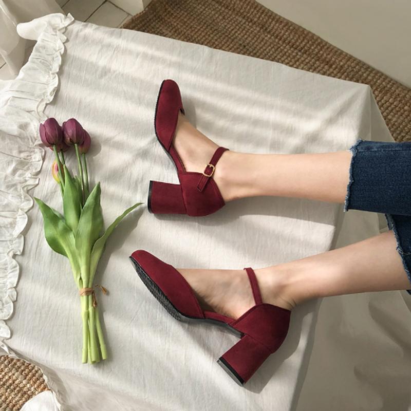 包头凉鞋中跟仙女圆头2019春款单鞋百搭小清新高跟少女粗跟晚晚鞋