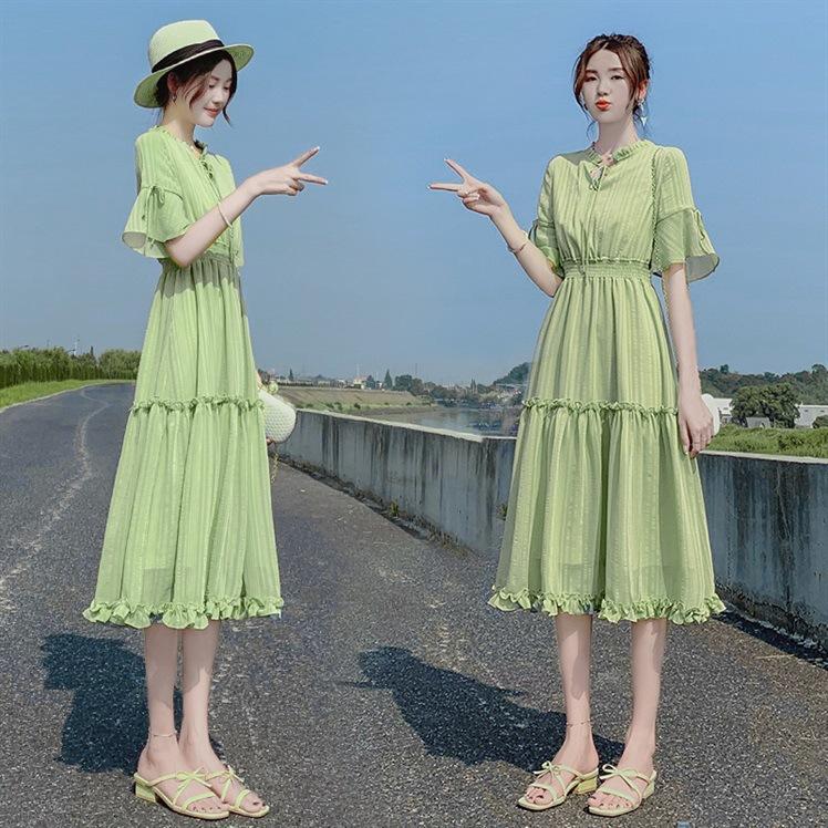 网子女韩版潮流egg法式过膝连衣裙满60元可用10元优惠券