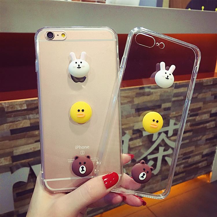 韩国line卡通苹果iPhone6/8/7plus/x手机壳6s/5c/5s/4s保护套潮