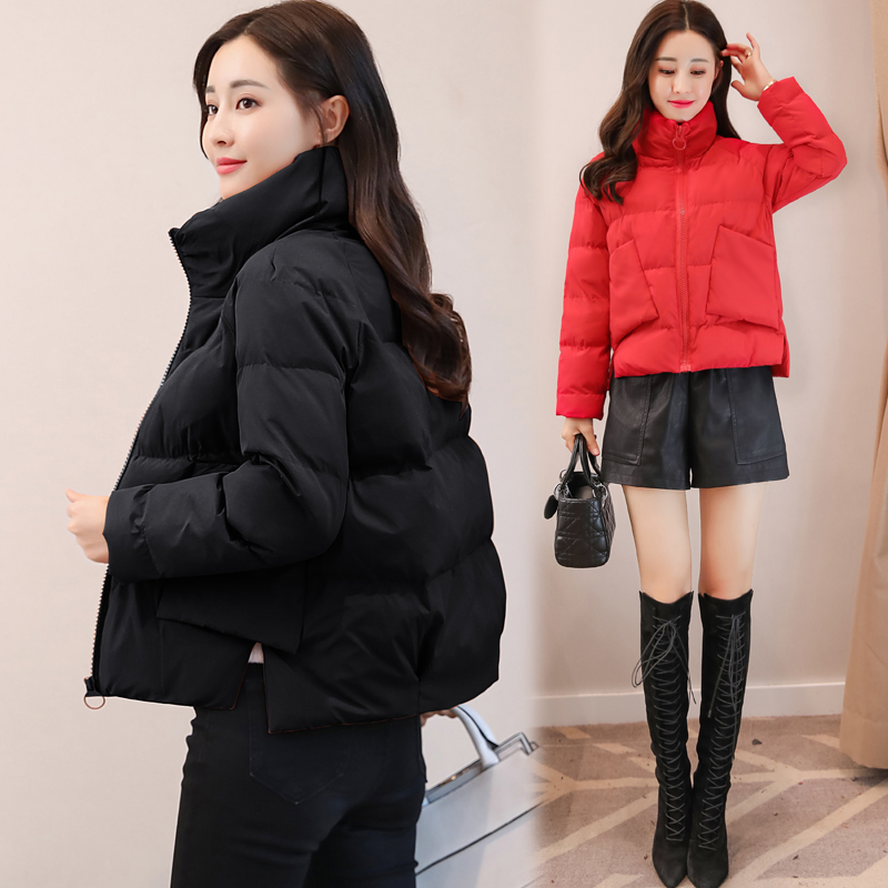 Womens stand collar small cotton padded jacket Korean loose small cotton padded jacket womens short 2020 winter fashion down cotton small cotton padded jacket