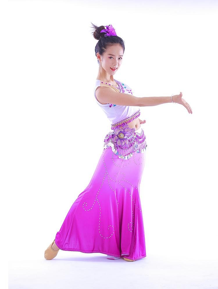 Меньше количество народ танец одежда ребенок павлин танец одежда для взрослых Dai гонка танец одежда рыбий хвост юбка аренда стандарт