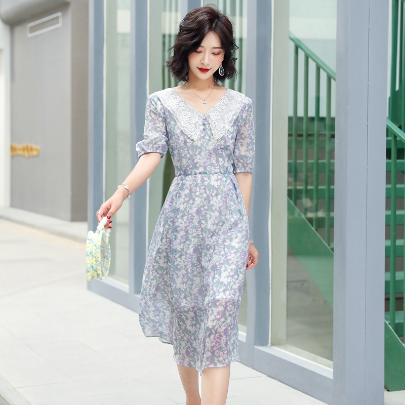 Summer stitching Lace Baby collar dress print one-piece dress waist length dress temperament A-line skirt km09901