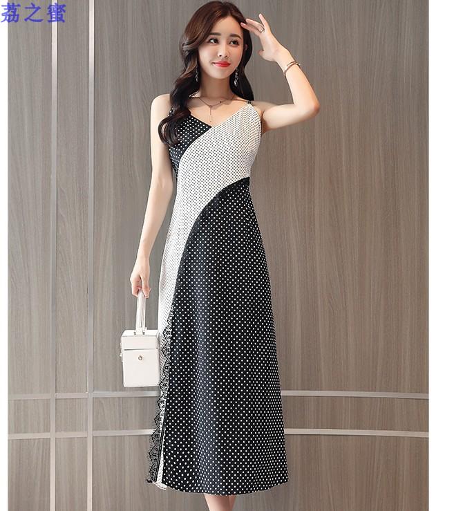 黑白拼色套裙侧开叉长裙吊带连衣裙裙+套头中袖披肩两件套CH0705