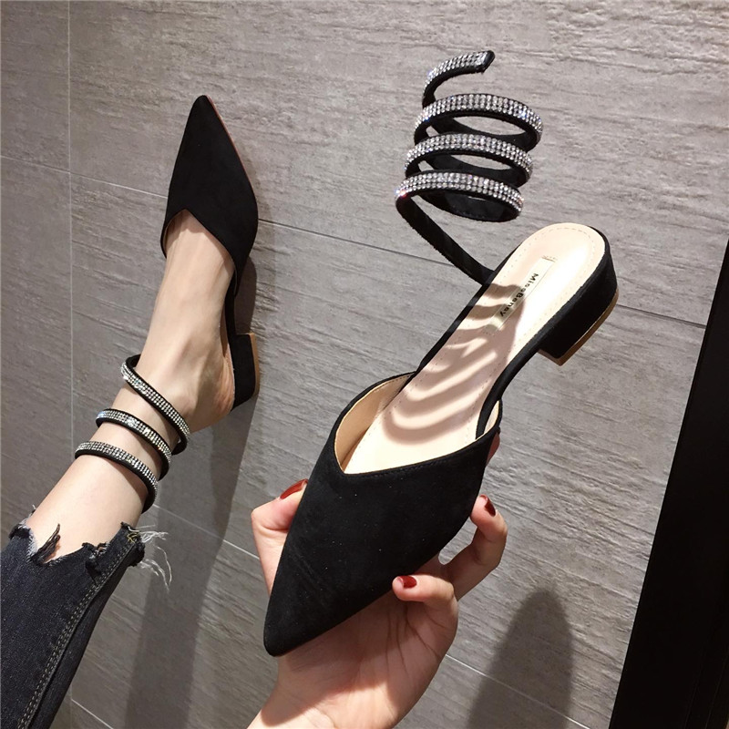 New womens shoes in spring and summer: Womens single shoes with pointed point and shallow mouth ankle snake shaped water drill with thin ribbon winding flat sandals