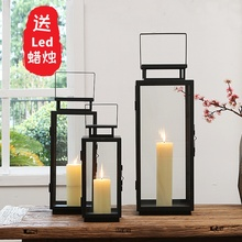 European style retro iron glass windproof candles display courtyard windlamp household decoration outdoor wedding Candlestick household