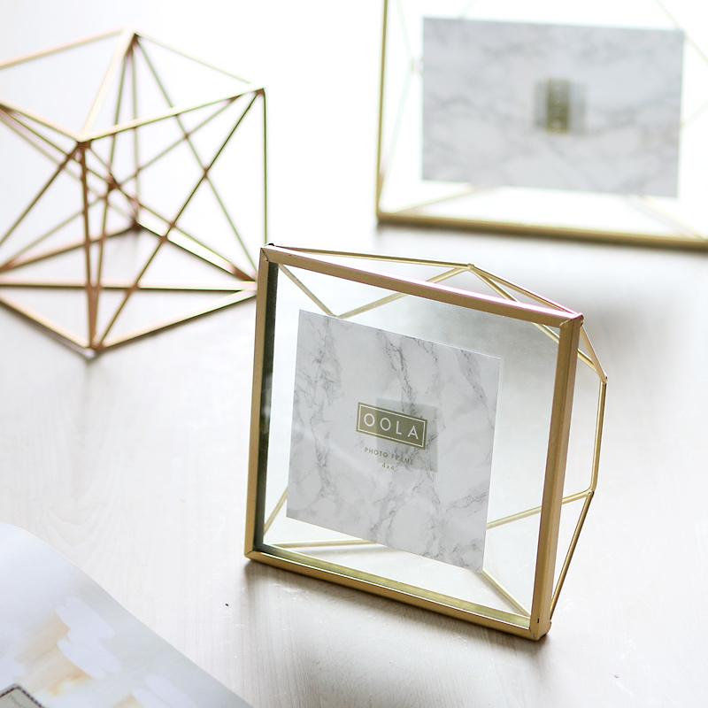 相框摆件北欧ins创意洗照片加相框几何金属玻璃画框467寸相册摆台(用61元券)