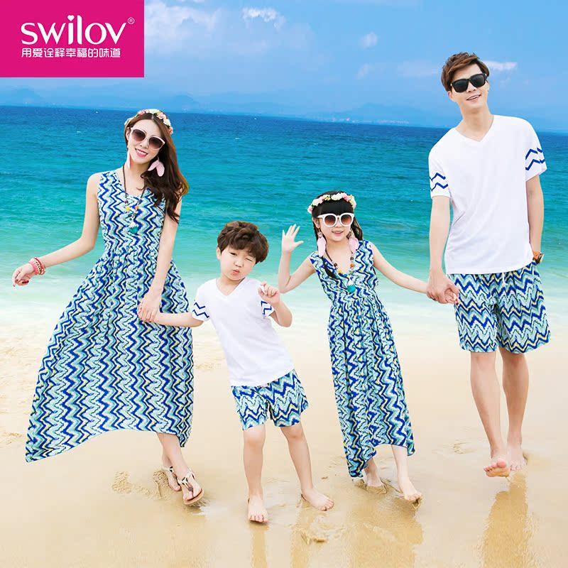 親子裝夏裝2016母女沙灘裙海邊度假裙一家三四口T恤套裝全家裝潮