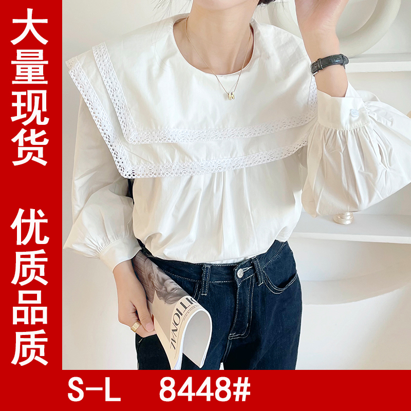 Ghost horse girl Department ~ real shooting sweet wind temperament lady lace side collar loose shirt 84480