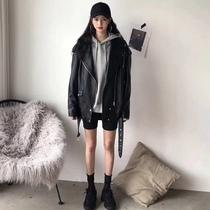 中长款黑色PU皮外套女 秋季2020新款chic复古ins港风潮皮衣皮夹克